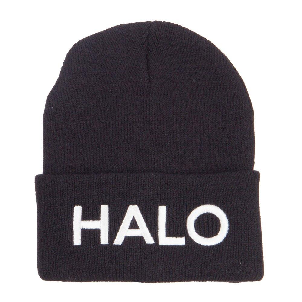 821c71cad2e Amazon.com  Halo Embroidered Long Beanie - Black OSFM  Clothing