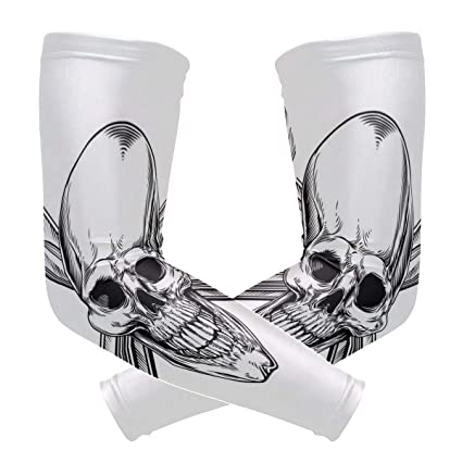 Arm Sleeves Colorful Skull Best Mens Sun UV Protection Sleeves Arm Warmers Cool Long Set Covers