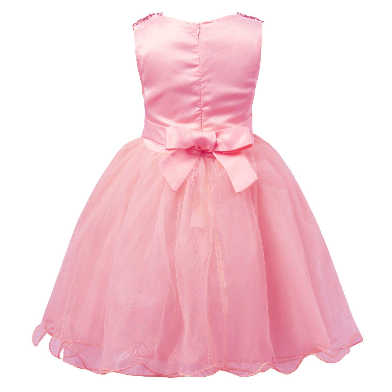 jerrisapparel vestido Little Girls Malla Flor de lentejuelas vestido ...