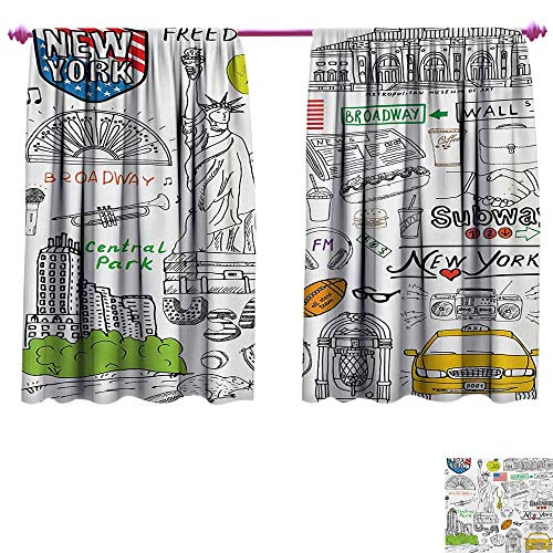 cobeDecor American Patterned Drape for Glass Door New York City Culture Metropolitan Museum Broadway Crossroad Wall Street Sketch Style Thermal Insulating Blackout Curtain W63 x L45 White