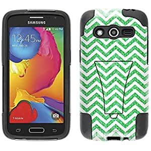 Samsung Galaxy Avant Hybrid Case Chevron ZigZag Glitter Green White 2 Piece Style Silicone Case Cover with Stand for Samsung Galaxy Avant