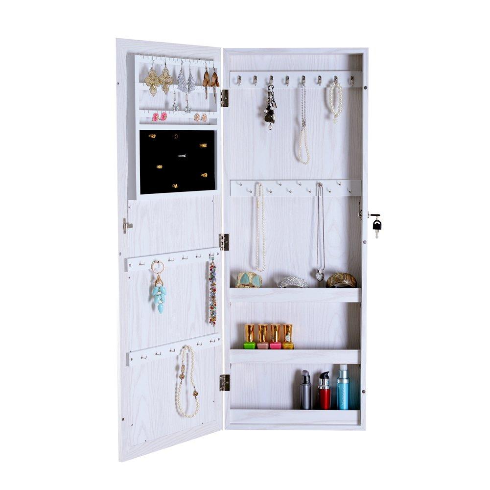 Organizedlife Lockable Mirrored Jewelry Armoire Makeup Cabinet Storage Wall Door Mount