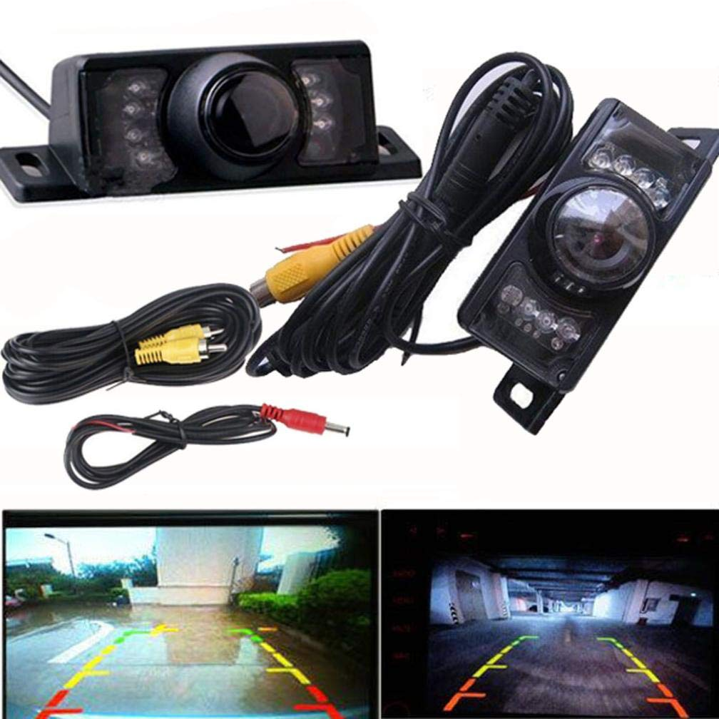 Glumes License Plate Rear View Reversing Backup Camera - Perfect Wide View Angle Design 7 LED Lights Night Vision Color CMOS Waterproof Universal Car Backing Camera (Black)