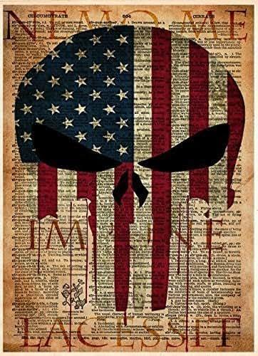 Amazon.com: Punisher skull American flag art print