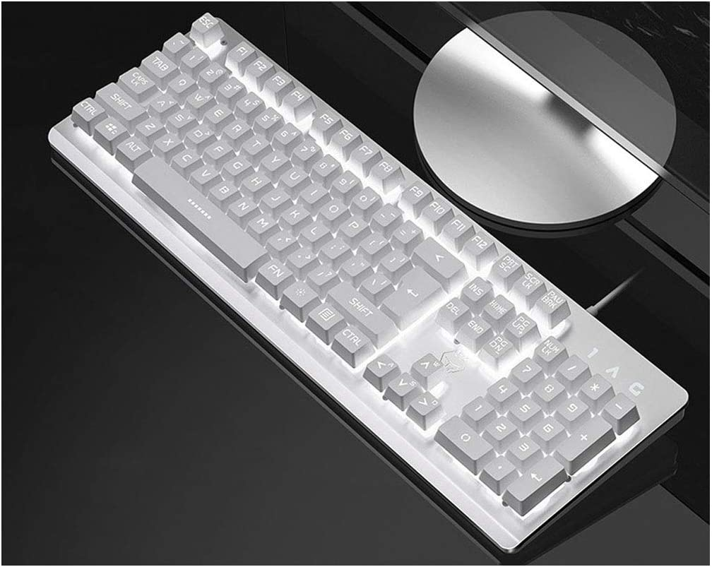 Game Dedicated XIONGHAIZI Backlight Mechanical Hand Keyboard Color : White, Style : B White Office Black Desktop Computer Notebook External USB Cable Home Gaming Keyboard