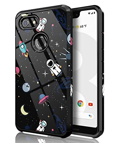 PBRO Google Pixel 3 XL Case,Cute Astronaut Cartoon Case Dual Layer Heavy Duty Hybrid PC+TPU Heavy Duty Protective Anti-Scratch Shockproof Fit for ...