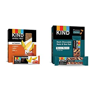 Pressed by KIND Fruit Bars, Mango Apple Chia, No Sugar Added, Gluten Free, 1.2oz, 12 Count & Bars, Dark Chocolate Nuts & Sea Salt, Gluten Free, Low Sugar, 1.4 Ounce, 12 Count