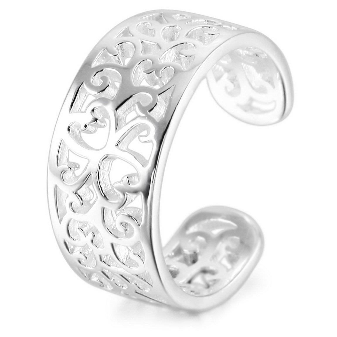 INBLUE Women's 925 Sterling Silver Toe Rings Open Rings Tail Ring Pattern Adjustable