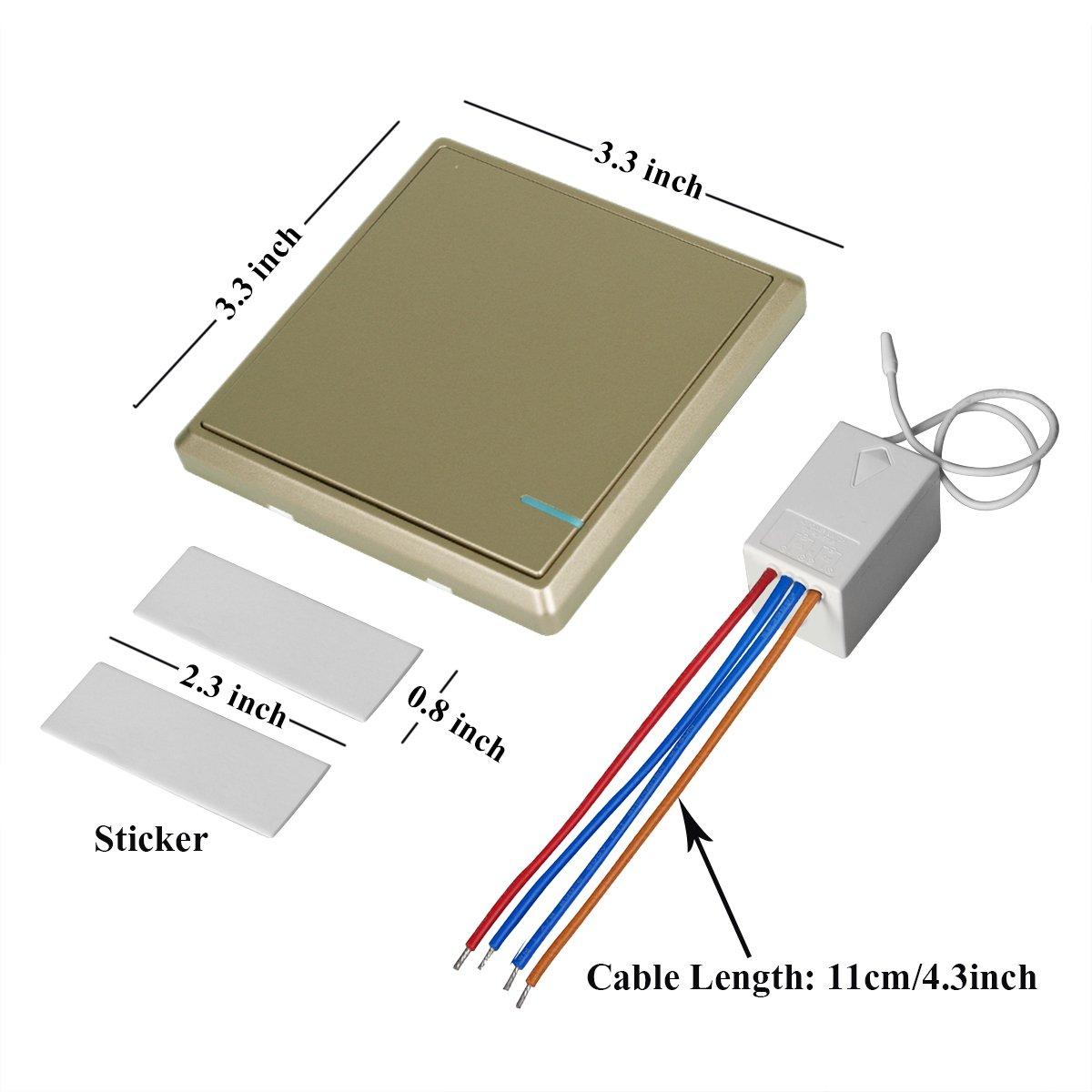 TSSS Gold Hotel Bar Wireless Lichtschalter mit Empfänger Kit mit LED ...