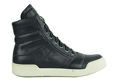 7e75d68f7b6 Image Unavailable. Image not available for. Color: Balmain Mens Perforated  Black Leather High Top Sneakers