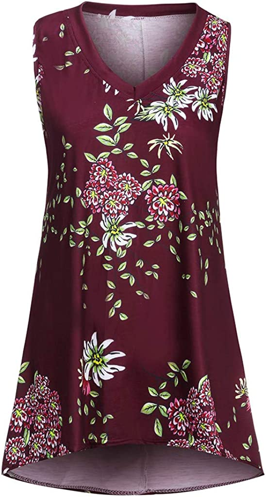 Sleeveless Tunics for Women to Wear with Leggings Bohemian Floral Print Crewneck T Shirt Shirts Tunic Tops Blouse Tees Tanks