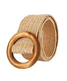 Cinturón Tejido Ocasional Retro Redondo de Madera Hebilla Automática Cinturón Pantalones Cinturón para Mujeres 4.5 cm de Ancho sin Perforación