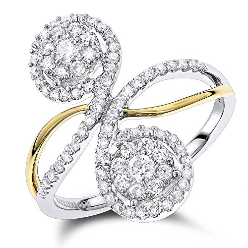 Luxurman 14K Love & Friendship 2 Cluster Natural 0.7 Ctw Diamond Ladies Ring (White & Yellow Gold Size 7) by Luxurman