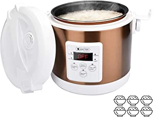 Mini Rice Cooker, 15mins quick cooking,2L- 6 cups Travel Rice Cooker Small, Removable Non-stick Pot, Precise temperature control Function, Suitable For 1-4 People - For Cooking Soup, Rice, Stews, Grains & Oatmeal (White&Golden)