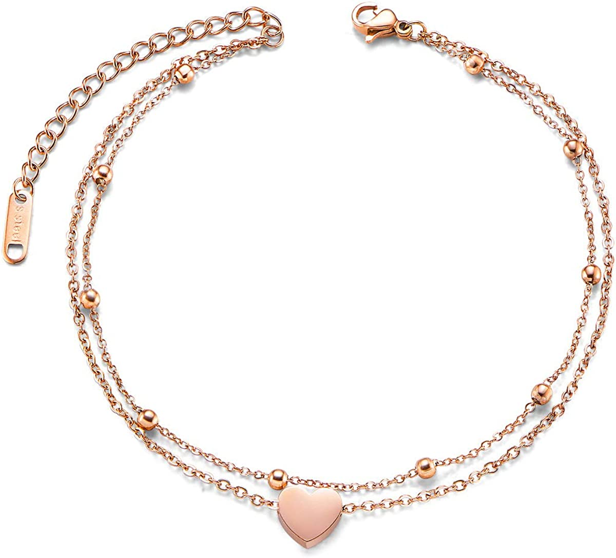 SHEGRACE Donna Doppia Cavigliera Charm con Perline in Acciaio al Titanio Placcato Oro Rosa Regolabile Semplice Regalo per la Fidanzata