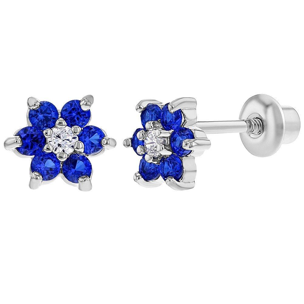 Rhodium Plated Navy Blue Crystal Flower Baby Girl Screw Back Earrings In Season Jewelry 03-0138