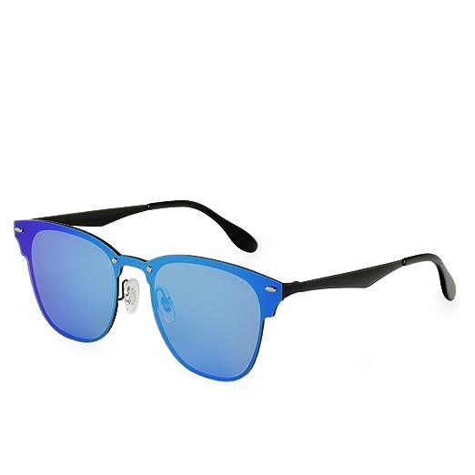 3fc86cb9be3 Galulas Rimless Mirrored Sunglasses for Men Women Polarized Wayfarer Style  Sunglasses Metal Square Frame Anti Glare