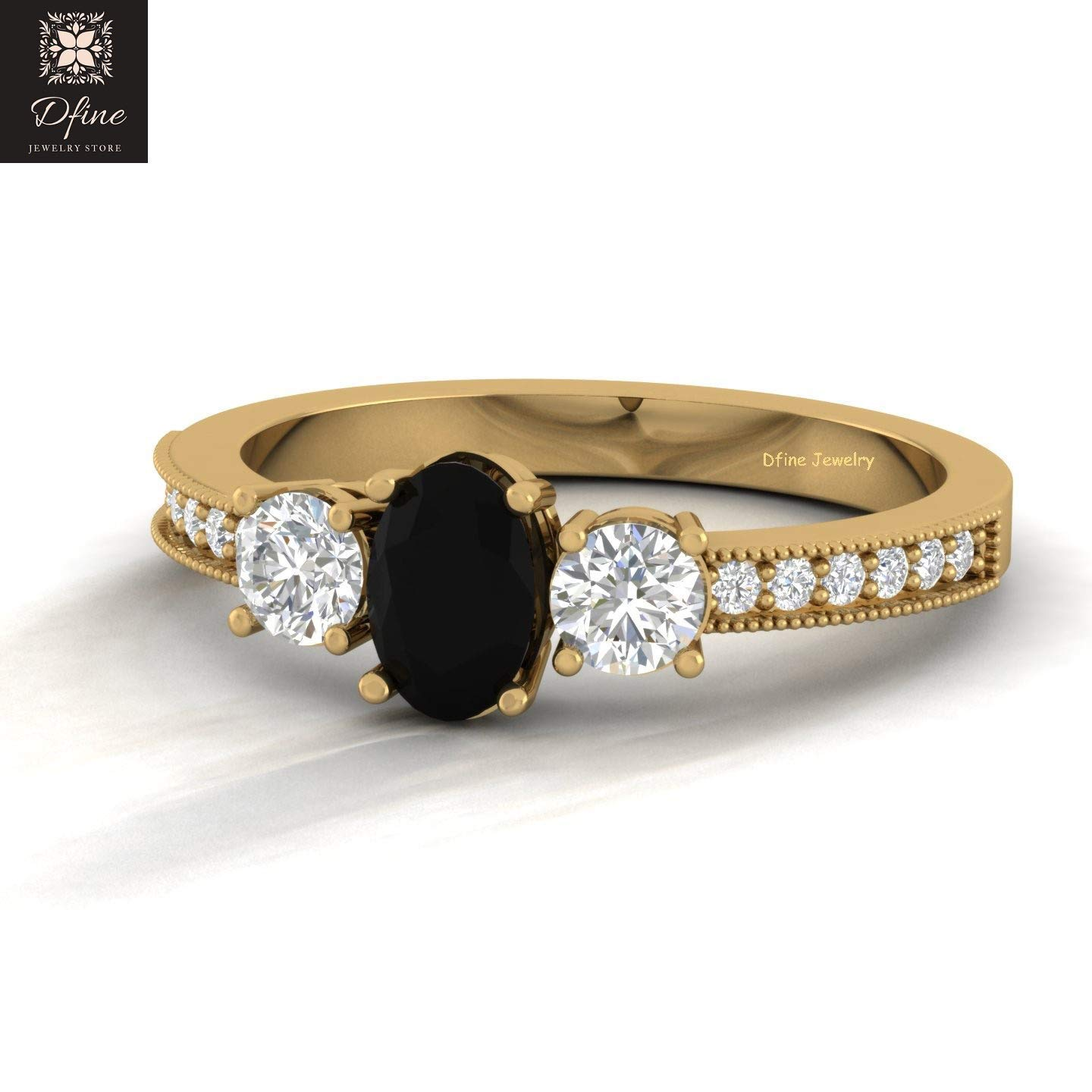 Amazon Com Black Onyx And Diamond 3 Stone Wedding Ring Classic