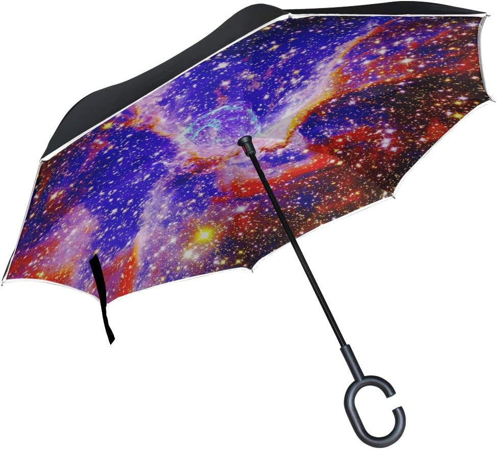 Double Layer Inverted Umbrellas with Geometric Space Nebula Universe Print Windproof Reverse Folding Umbrella for Car C-Shaped Handle Umbrella