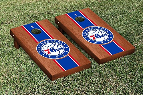 Philadelphia Sixers 76ers NBA Basketball Cornhole Game Set Rosewood Stained Stripe Version by Victory Tailgate