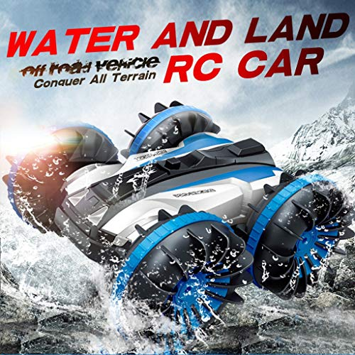 Remote Control Car Boat Truck 4WD 6CH, 2.4Ghz Land Water 2 in 1 RC Toy Car Multifunction Waterproof Stunt RTR Remote Vehicle with Rotate 360 Electric Car Toy (Blue)