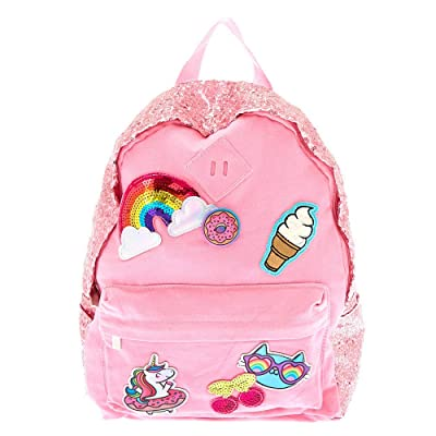 Claire's Girl's Holographic Emoji Patch Backpack - Pink - L: Clothing