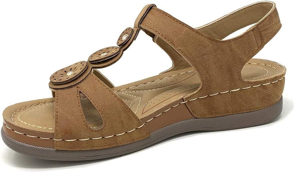 Chaussure Mode Sandale Style orthop/édique Senior salom/és Femme lani/ères Fleurs Finition surpiq/ûres Coutures Talon Plat 3.5 CM Angkorly