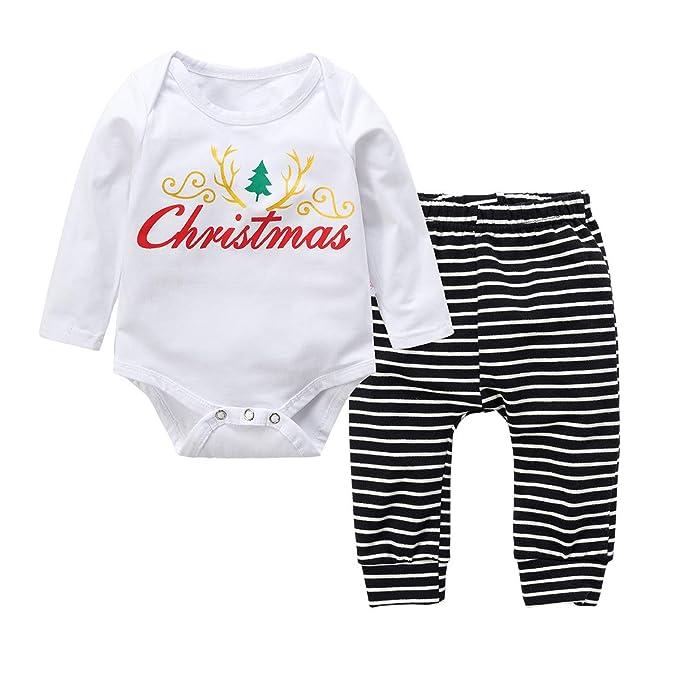 c638a16ae9e30f Baywell 2PCS Abbigliamento Set, Natale Bambini Neonato Pagliaccetto Manica  Lunga con Fiore + Pantaloncini