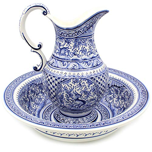 Madeira House Coimbra Ceramics Hand-Painted Wash Basin with Pitcher XVII Cent Recreation #109-3