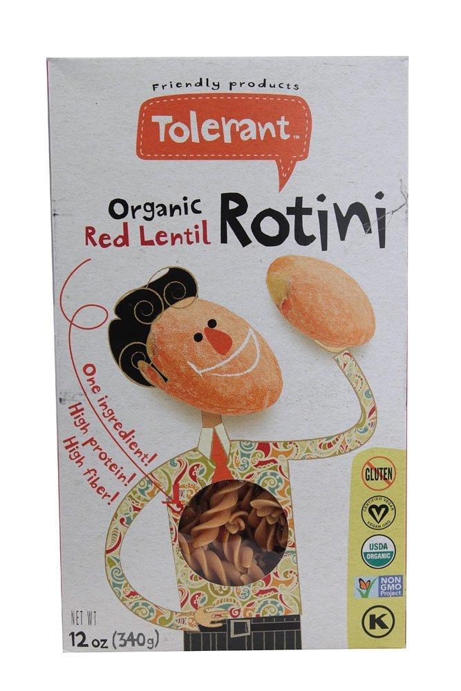 Tolerant Foods Organic Red Lentil Pasta-Rotini-12 oz