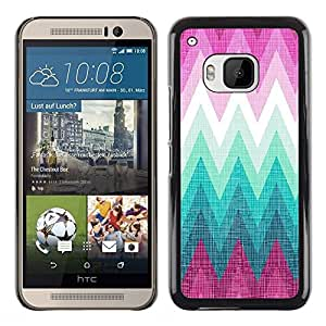 iKiki Tech / Estuche rígido - Pink Chevron Mountains Forest Absract - HTC One M9