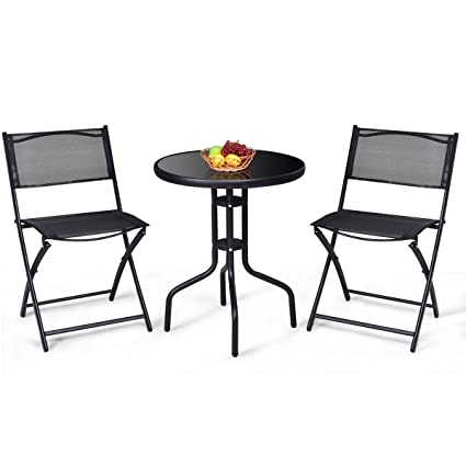 Pleasing Giantex 3 Pcs Bistro Set Garden Backyard Round Table Folding Chairs With Rust Proof Steel Frames Reinforced Glass Design Outdoor Patio Furniture Home Remodeling Inspirations Cosmcuboardxyz