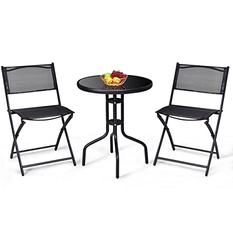 Giantex 3 sillas Plegables PC Bistro Set Mesa de jardín del ...
