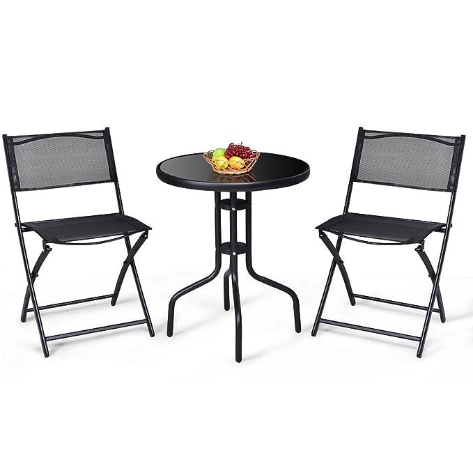 Giantex 3 sillas Plegables PC Bistro Set Mesa de jardín del ...