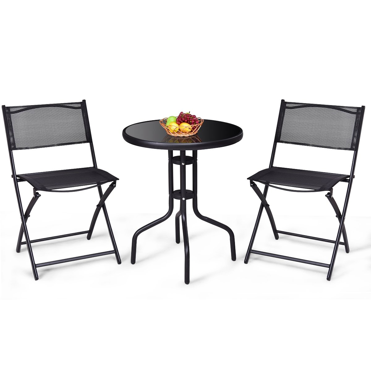 Giantex 3 Pcs Bistro Set Garden Backyard Table Folding Chairs Outdoor Patio Furniture, Black