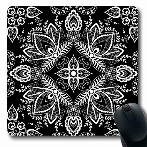 LifeCO Mouse Pad Shawl Carpet Black White Abstract Bandana Chiffon Hijab Pattern Ascot Authentic Design Sarong Oblong Shape 7.9 x 9.5 Inches Mousepad for Notebook Computer Mat Non-Slip Rubber