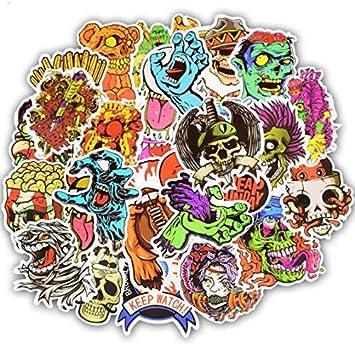 YLGG 50 Piezas Terror Series Sticker Graffiti Skeleton Dark Funny Stickers para DIY Sticker en Estuche de Viaje Laptop Skateboard Guitarra Nevera: Amazon.es: Electrónica