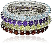 Gemstone Set of Four Stackable Rings in Sterling Silver, Size 7