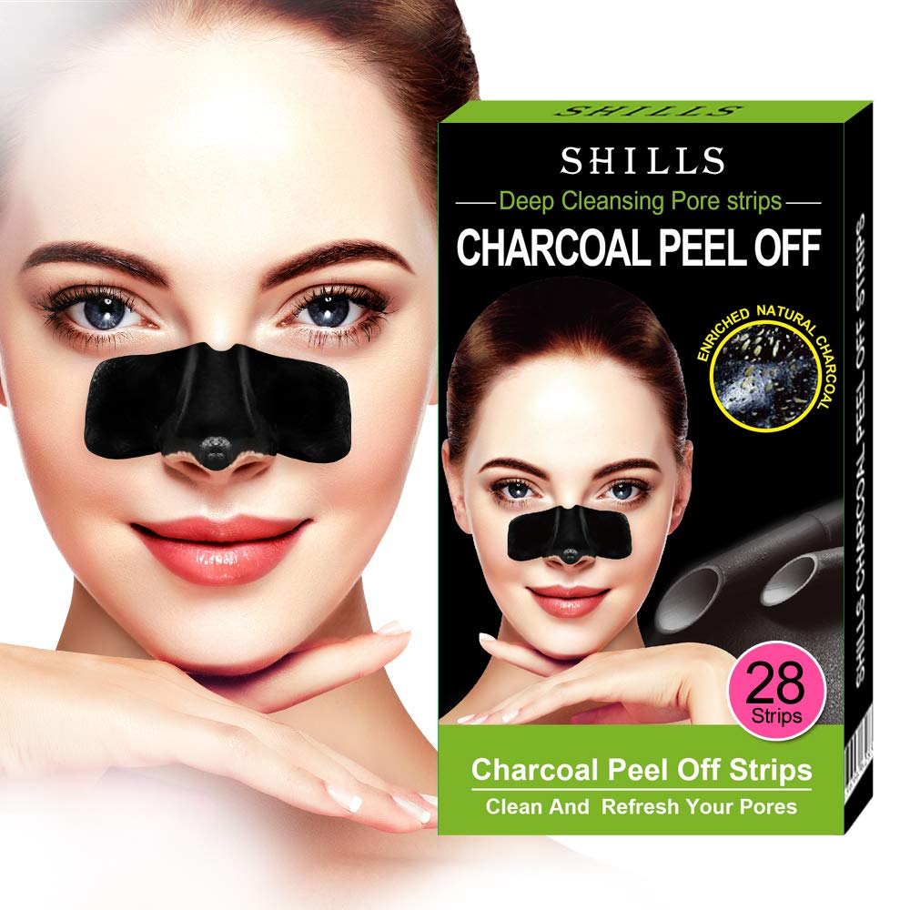 SHILLS Purifying Pore Strips, Women's Nose Pore Cleanser, 28 Count, Blackhead Remover, Deep Cleansing, Charcoal Peel Off Nasal Patch by SHILLS
