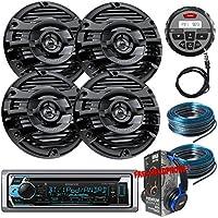 Package Kenwwod KMR-D368BT Bluetooth Marine CD Receiver + 2 Pairs KFC-1653MRB Marine Stereo Speaker + MB Quart Nautic GMR-1 + 2x 100FT Installation Wires + Free EMB Headphone For ATV UTV Boat Yatch