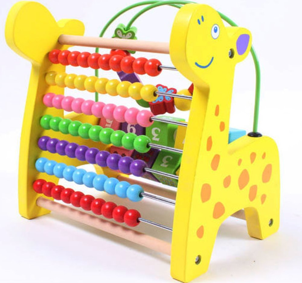 YIXIN Wooden Giraffe Puzzle Bead Maze Counting Frame Abacus Animal Shaped Mathematics Stand Rack Toy Xiajia