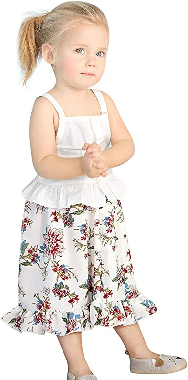 2PCS Toddler Baby Girl Winter Clothes Floral Tops Dress Striped Pants Outfit Set