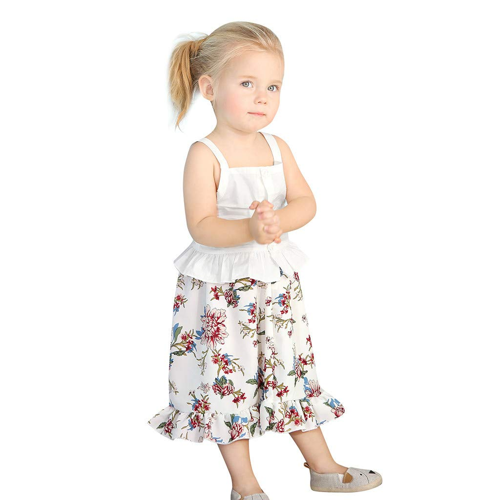2pcs Baby Girl Dress Set, Toddler Kids Sleeveless Ruffles Vest Tops + Floral Print Skirt Clothes Outfits (6-12 Months, White)
