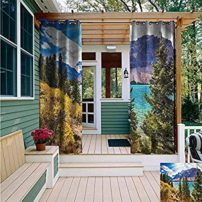 AFGG Outdoor Window Curtains,Landscape Calm Canadian Lake Rocks,Grommet Curtains for Bedroom,