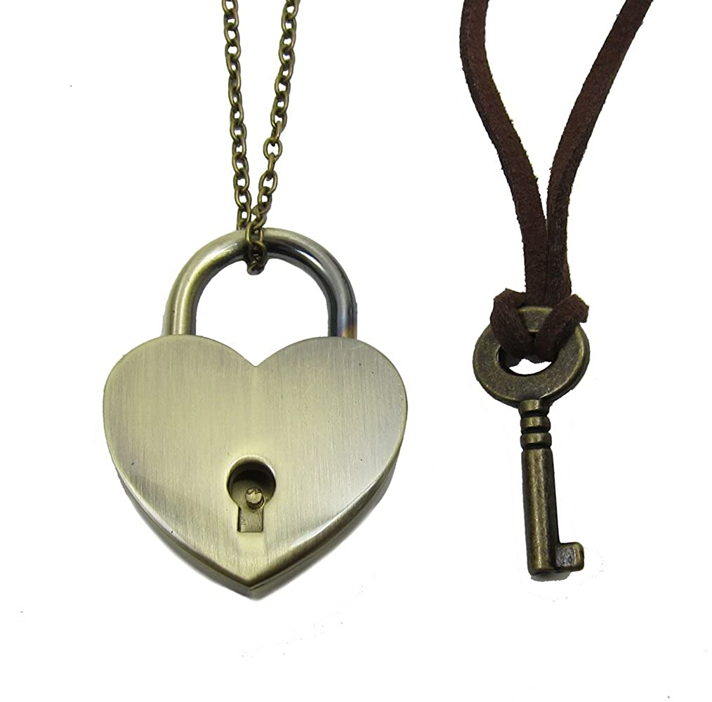 266fcbc5e4 Bronze Heart Lock and Key Couples Necklace - Real working Lock Pendant |  Amazon.com