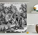 Ambesonne Vintage Shower Curtain, Historical French Revolution Sketch with Napoleon and Woman in Garden Artwork, Fabric Bathroom Decor Set with Hooks, 84 Inches Extra Long, Dark Grey Black