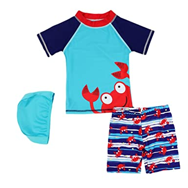 2e9338b471 Digirlsor Boys Rashguard Short Sleeve Swimsuit Little Big Kids Swim Trunks  with Shirt + Swim Cap