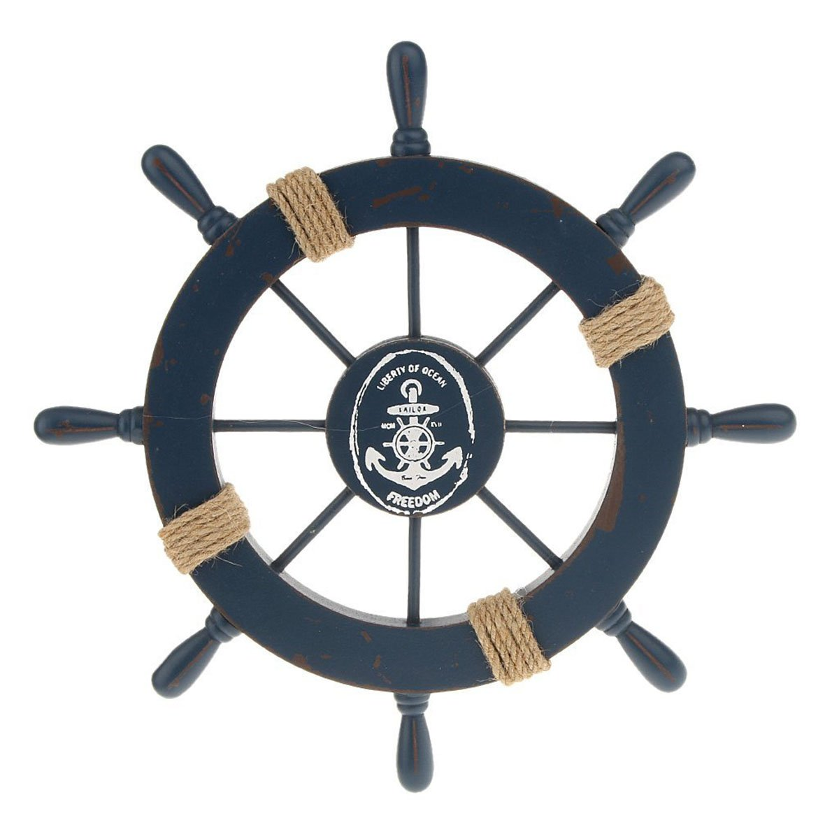 WINOMO Wooden Nautical Wall Decor Boat Rudder Home Decor Wall Pendant Decor (Deep Blue)
