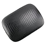 Oumurs Alligator Synthetic Leather Suction Cup Passenger Pillion Pad Seat Rectangle Cushion Pad for Harley Sporster XL 883 1200 Chopper Bobber Dyna Touring (6 Suction Cup Black)