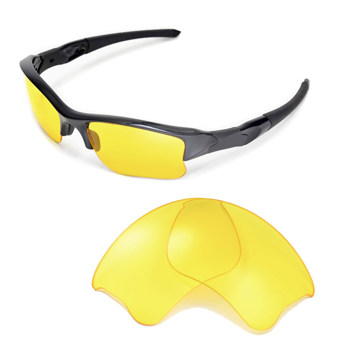 Walleva Replacement Lenses for Oakley Flak Jacket XLJ Sunglasses - Multiple Options Available (Yellow) by Walleva